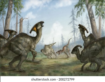 Gorgosaurus libratus hunting Parasaurolophus walkeri in Late Cretaceous North America