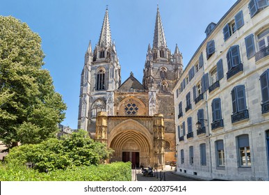 Gorhic facade of Sainte-Marie de Bayonne cathedral in Bayonne, Nouvelle Aquitaine, France