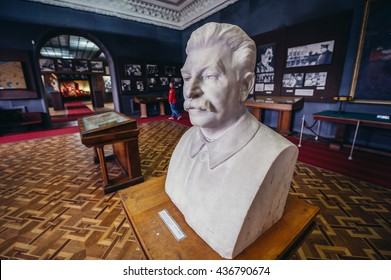Gori, Georgia - April 23, 2015. Bust of Stalin in Museum of Joseph Stalin in his hometown - Gori