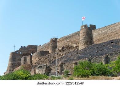 Gori, Georgia - Jul 04 2018: Ruins of Gori fortress. a famous Historic site in Gori, Shida Kartli, Georgia.