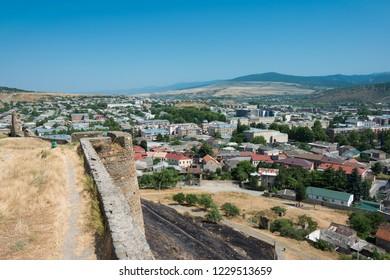 Gori, Georgia - Jul 04 2018: Gori City view from Ruins of Gori fortress in Gori, Shida Kartli, Georgia.