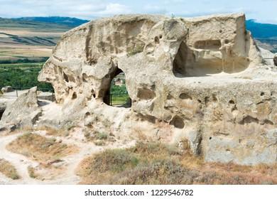 Gori, Georgia - Jul 05 2018: Ruins of Uplistsikhe. a famous Historic site in Gori, Shida Kartli, Georgia.
