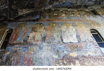 Gori, Georgia - May 23, 2019: Ancient Orthodox church fresco in Georgia, Uplistsiche Cave Town, Gori.