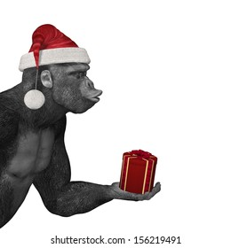 Gorilla Offering Gift - A gorilla with it's eyes closed and lips puckered wearing a Santa hat offering a gift and waiting for a kiss.  Bah Humbug