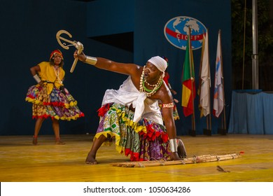 Gorizia, Italy - August 26, 2017: Traditional dancers of Benin traditional dance company on the stage during the International Folklore Festival in Gorizia, Italy