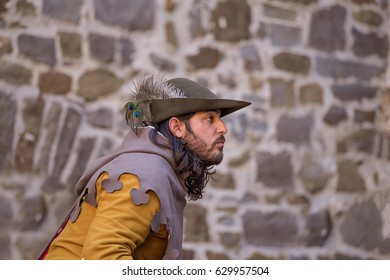 Gorizia-Castle, Italy - April 23, 2017: Medieval soldier at historical re-enactment in the splendid medieval scenery of the Gorizia Castle.