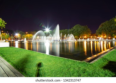 Gorky Park-Central Park of Culture and Rest-- fountain, one of the main citysights and landmark in Moscow, Russia (at night)