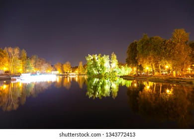 Gorky Park-Central Park of Culture and Rest-- pond, one of the main citysights and landmark in Moscow, Russia (at night)