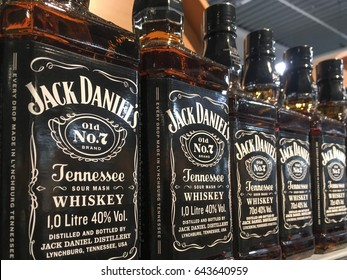 Gorlice, Poland - May 13, 2017: Bottles of Jack Daniel's Whisky on store shelves for sale in Kaufland Hypermarket. Jack Daniel's is the top selling American whiskey in the world.