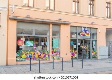 Gorlitz, Germany - June 2, 2021: dm drogerie markt branch. dm-drogerie markt is a chain of retail stores offering cosmetics, healthcare items, household products and health food and drinks.
