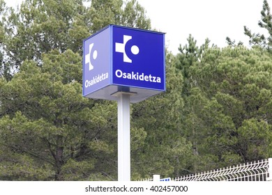 GORLIZ, BISCAY, BASQUE COUNTRY, SPAIN - APRIL 08, 2016: Logo of Osakidetza, the public health service in the Basque Country. This sign is in the entrance of the public hospital in Gorliz.