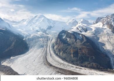 The Gorner Glacier (Gornergletscher) in Switzerland is the second largest glacier in the Alps.