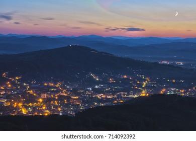 Gorno-Altaisk night view from the mountain. Altai. Siberia. Russia