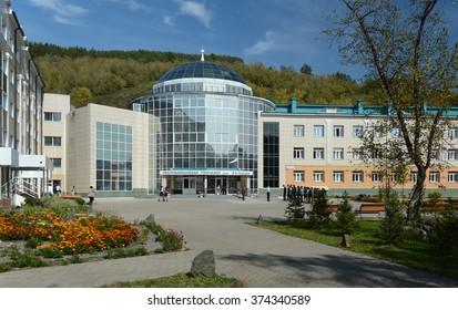 Gorno-Altaisk, Russia - September 15, 2014: The building of the gymnasium named Plakasa, Altai Republic, Siberia, Russia