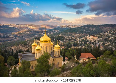 """Gorny/""""Moscovia"""" Convent - Russian Orthodox church in Ein Karem, with a view of neighbourhoods and villages of Jerusalem forest in the Judean hills -  Har Nof, Beit Zait, Motza and Mevaseret Tzion"""