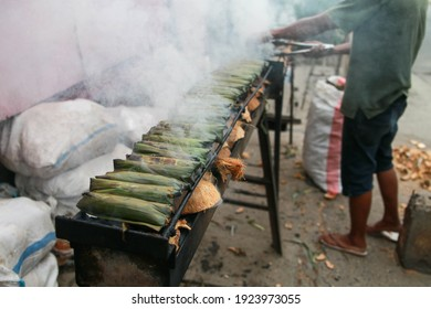 Gorontalo, Indonesia - August 2020: The process of making Ilabulo, traditional culinary