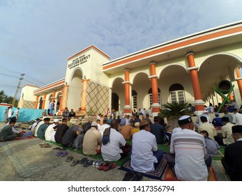 Gorontalo, Indonesia - June 5, 2019: Eid prayer at the Baiturahman Mosque in Isimu