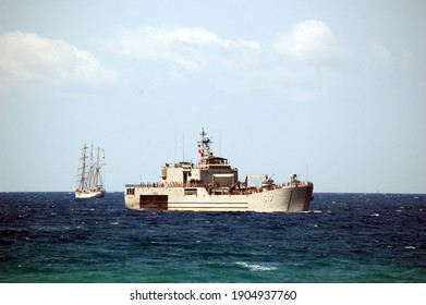 Gorontalo, Indonesia  - September 29, 2006: KRI Teluk Ende warship in Gorontalo gulf.