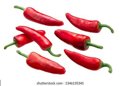 Gorria Espelette-type chile peppers (Capsicum annuum fruits), whole ripe pods