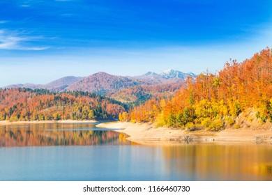 Gorski kotar, mountain Risnjak and Lokvarsko lake, Croatia, beautiful autumn landscape, warm colors