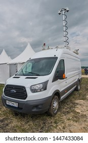 Goryainovka, Mordovia, Russia - June 28, 2019: The Police Ford Transit with CCTV cameras mounted on the roof.