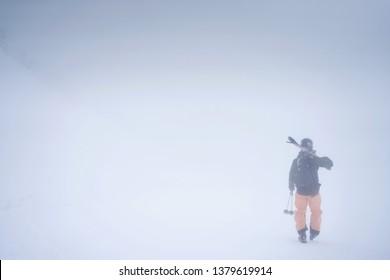 Goryu, Hakuba Valley / Japan - February 2019: Whiteout skiing day in Goryu 47 Hakuba Valley Japan