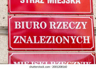 Gorzow Wielkopolski, Poland - June 1, 2021: Sign lost-and-found office (Polish: Biuro rzeczy znalezionych).