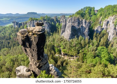 Gose Rock with view at Bastei Bridge in Saxon Switzerland National Park near Dresden, Germany