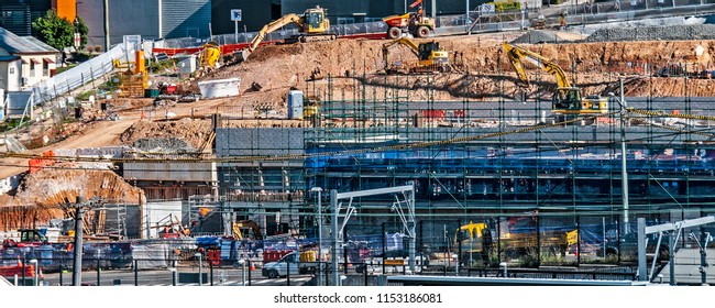 Gosford, Australia - May 18. 2018: Construction and building progress h20, on Gosford Hospital facilities New South Wales, Australia.