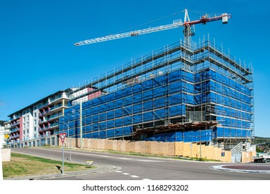 Gosford, New South Wales, Australia - August 4. 2018: Construction site and building progress update 115. Perspective on new home units building site at 47 Beane St.