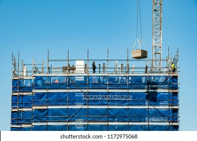 Gosford, New South Wales, Australia - August 29. 2018: Construction and building progress update 119  on new home units building site at 47 Beane St.