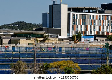 Gosford, New South Wales, Australia - September 10, 2018: Construction and building work on Gosford Hospital redevelopment and the new wing helipad. Progress Update H29ed.