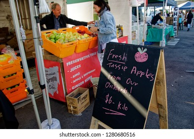 Gosford, New South Wales, Australia - April 30, 2017: Gosford City Farmers Markets, marked day at Gosford. Produce and fresh vegetables for sale.
