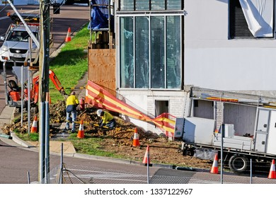 Gosford, New South Wales, Australia - March 8, 2019: Construction and building progress on new home units at 47 Beane St. Update 214.