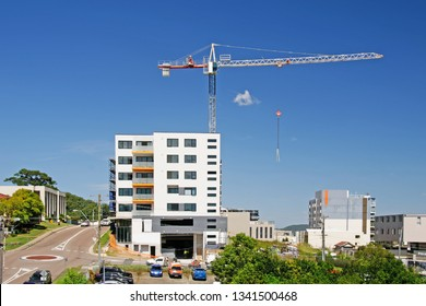 Gosford, New South Wales, Australia - March 12, 2019: Construction and building progress on new apartments building site at 47 Beane St. Update
