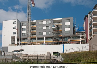 Gosford, New South Wales, Australia - March 14, 2019: Construction and building progress on new apartments building site at 47 Beane St. Update