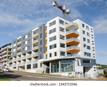 Gosford, New South Wales, Australia - March 20, 2019:  Building progress, all scaffolding and blue safety netting now removed, on new apartments building site