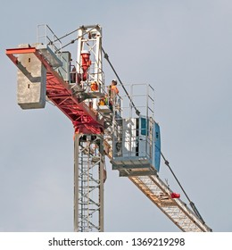 Gosford, New South Wales, Australia - April  9, 2019:  The disassembly of a tower crane from new home units building construction site at 47 Beane St.  Update ed301.