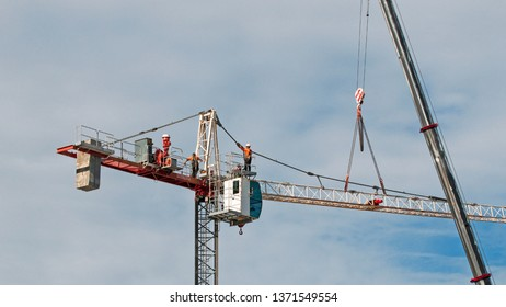 Gosford, New South Wales, Australia - April  9, 2019: The disassembly of a tower crane from new home units building construction site at 47 Beane St. Update 304.