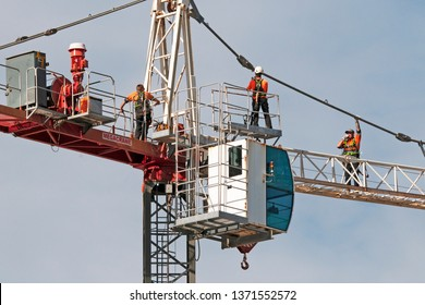 Gosford, New South Wales, Australia - April  9, 2019: The removal of a tower crane from new home units building construction site at 47 Beane St. Update 305.