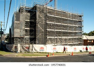 GOSFORD, NSW, AUSTRALIA - MARCH 28, 2021: Building progress on 40 New Social Housing residential Units under construction at 56-58 Beane. St.  Part of a  series for editorial use.