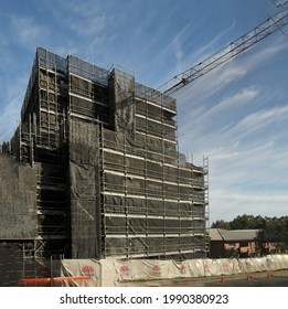 Gosford, NSW, Australia - May 2, 2021: Top floor construction activity on New Social Housing construction at 56-58 Beane. St.  Building