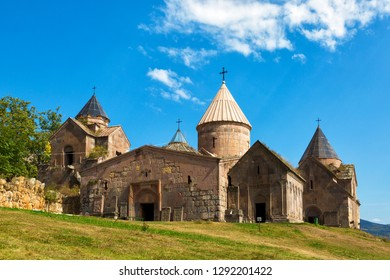Goshavank - Armenian medieval monastery complex XII-XIII centuries in the village of Gosh in sunny day , Armenia