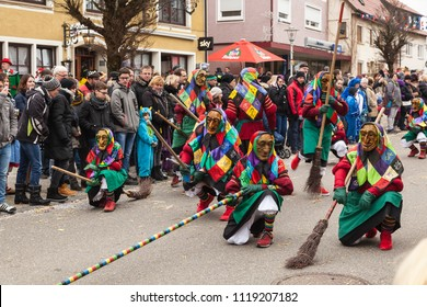 GOSHEIM, GERMANY - JANUARY 14, 2018: Traditional mask parade at the annual carnival (Swabian-Alemannic Fastnacht)
