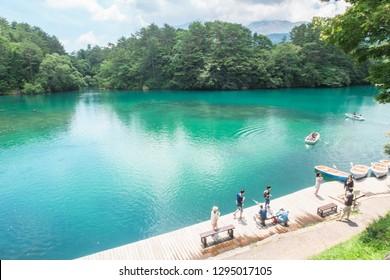Goshiki-numa,fukushima prefecture /Japan-August 6 2017:Tourists rowing in the lake on summer in Goshiki-numa