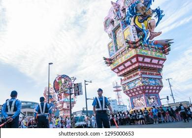 Goshogawara, Aomori Prefecture/ JAPAN- August 4 , 2017: The standing float of Goshogawara Tachi Neputa festival on Every summer in Goshogawara, Japan.