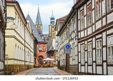 GOSLAR, GERMANY - JULY 28, 2012: Medieval market square. Goslar has a rich cultural history. Currently, the city has about 1800 old fachwerk houses. The Old Town are UNESCO World Heritage Sites.