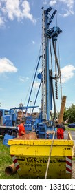 Goslar, Germany, May 22., 2017: Drilling work and drilling for a measuring point for the groundwater level and sampling for groundwater quality