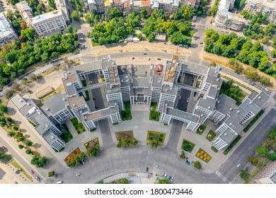 GOSPROM building on Svoboda Square in the city of Kharkov. View from above. The building was built in the USSR. An unusual building. - Shutterstock ID 1800473446