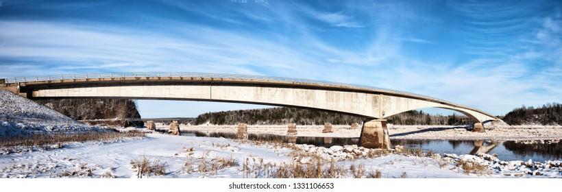Gosse Bridge in South Mailtland, Nova Scotia, during Winter.